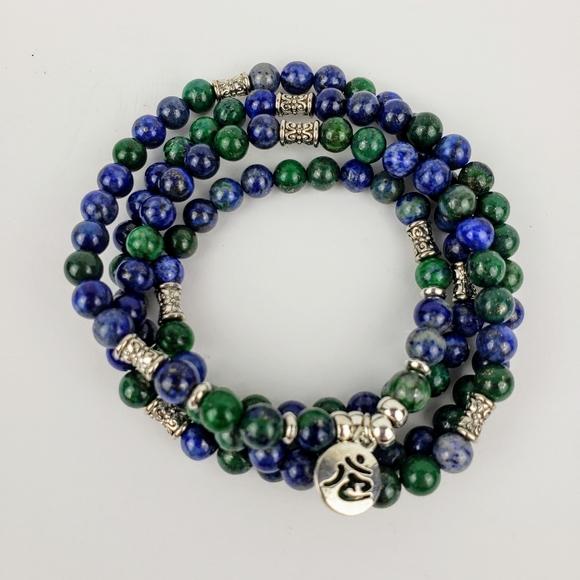 6mm Malachite Gemstone Mala Bracelet 108 Beads Leaf Pendant Handmade Lucky